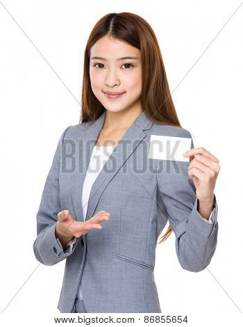 Asian business woman with blank name card