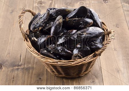 Fresh Mussel In A Wicker Basket