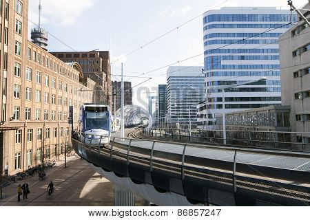 Lightrail At The Prinses Beatrixlaan In The Hague Holland