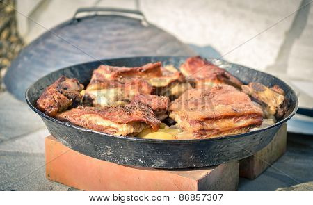 Cooking Of Traditional Balkan Turkish Bosnian Dalmatian Meal Peka In Metal Pots Called Sac Sach Or S