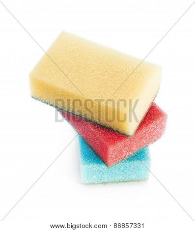 Stack of three dish and housework cleaning sponges