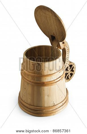 Authentic wooden rustic beer mug tankard