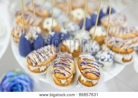 wedding dessert with delicious cakes
