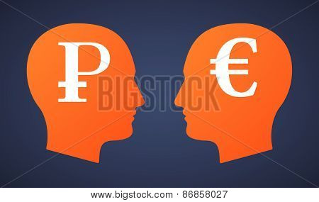 Head Set With A Ruble And An Euro
