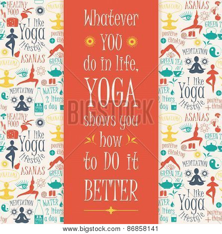 Yoga Background With Yogic Quote.