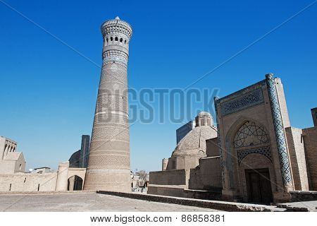 Mir-i Arab Madrasah, Mosque Kalon and Kalyan minaret, Historic center of Bukhara, Uzbekistan (UNESCO World Heritage)