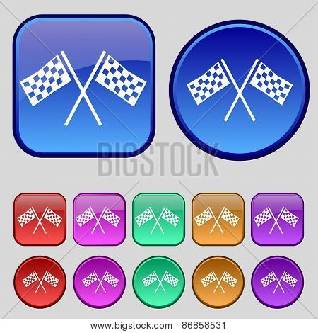 Race Flag Finish Icon Sign. A Set Of Twelve Vintage Buttons For Your Design. Vector
