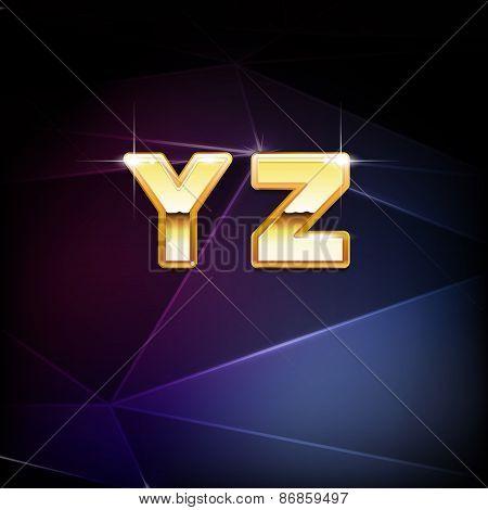 Vector Golden Shiny Alphabet form Y to Z