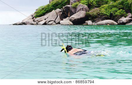 Snorkeling near  Koh Tao, Thailand