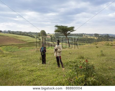 OROMIA, ETHIOPIA-NOVEMBER 2, 2014: Unidentified farm children on a farm in the mountainous western region of Ethiopia