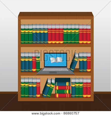 Book shelf with laptop online library