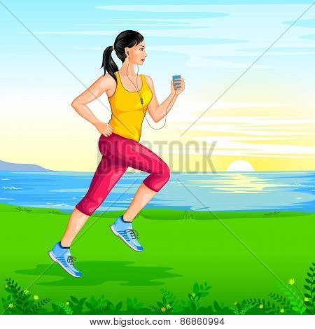 Lady jogging for wellness