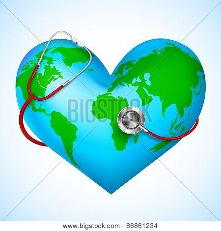 Stethoscope around hearth shaped world