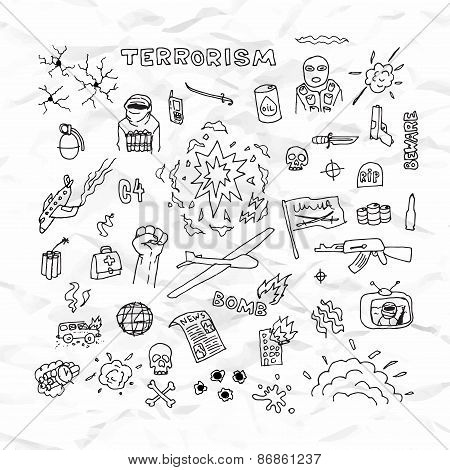 Freehand terrorism doodles on crumpled paper vector illustration
