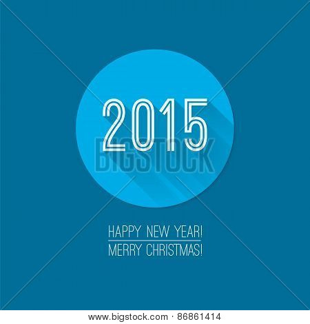 Trendy Christmas Card Design. 2015 Label. Blue Background. Happy