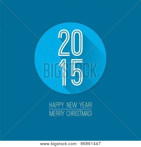 2015 Label. Christmas Card With Flat Style Icon, Happy New Year
