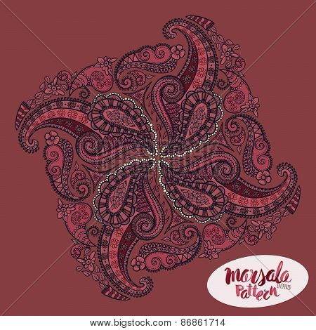 Marsala Inspired Trendy Pattern,fashionable Sophisticated Shade. Hand-drawn Removeable Lettering Ins