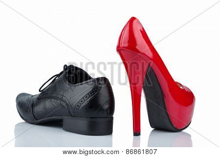 women's shoes and men's shoes, symbolic photo for partnership and equality