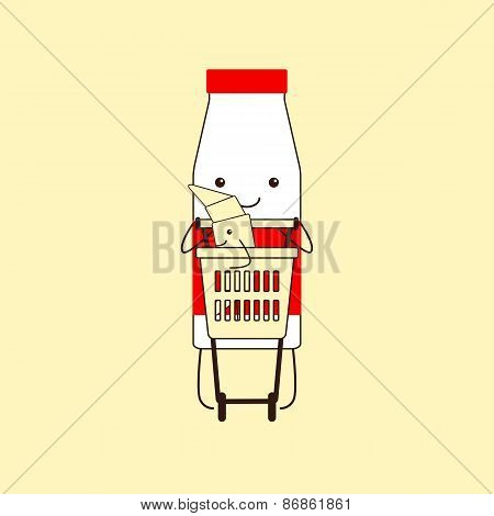 Milk Bottle With Croissant In Shopping Basket
