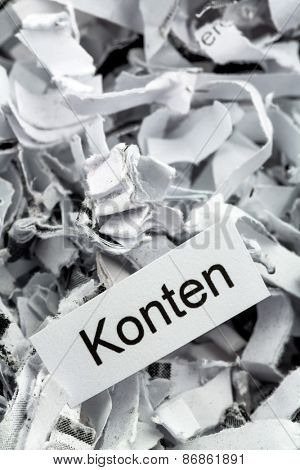 shredded paper tagged accounts, symbolic photo for finance, accounting and double-entry bookkeeping