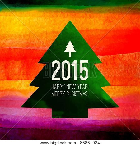 Christmas Tree Symbol.  Colorful Watercolor Painting With 2015 L
