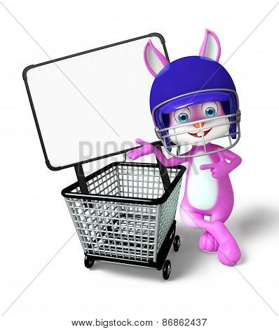 Easter Bunny Character With Shopping Trolley