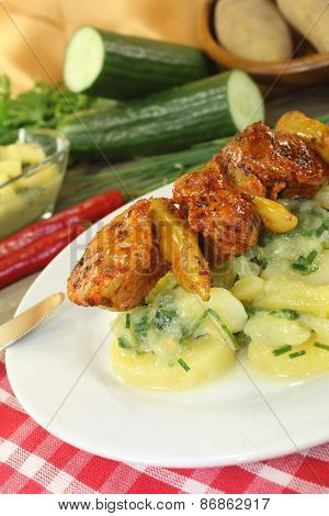Potato-cucumber Salad With Grilled Fire Skewers