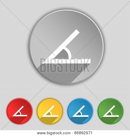 Angle 45 Degrees Icon Sign. Symbol On Five Flat Buttons. Vector