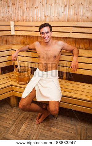 Man enjoying a sauna