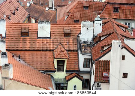 High Angle View Of Tile Roofs In Prague, Czech Republic.