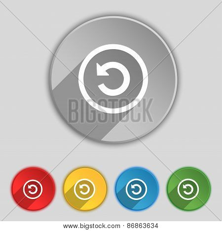 Upgrade, Arrow, Update Icon Sign. Symbol On Five Flat Buttons. Vector