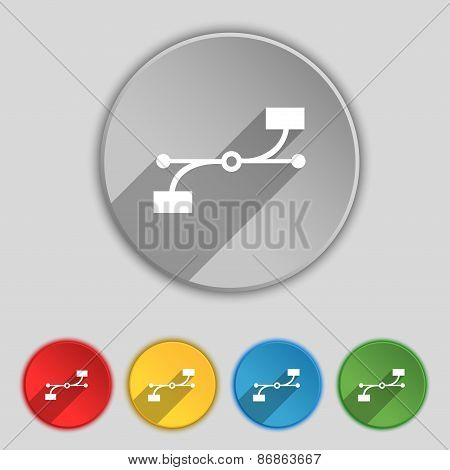 Bezier Curve Icon Sign. Symbol On Five Flat Buttons. Vector