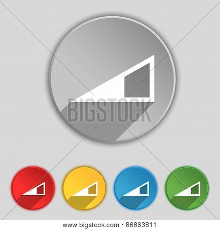 Speaker Volume Icon Sign. Symbol On Five Flat Buttons. Vector