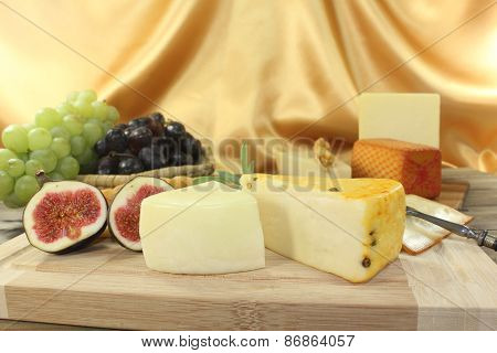 Slices Of Cheese With Figs