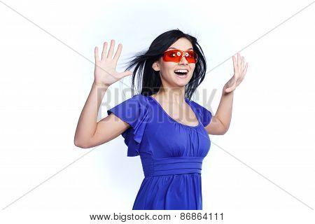 Pretty Futuristic girl with red sunglasses