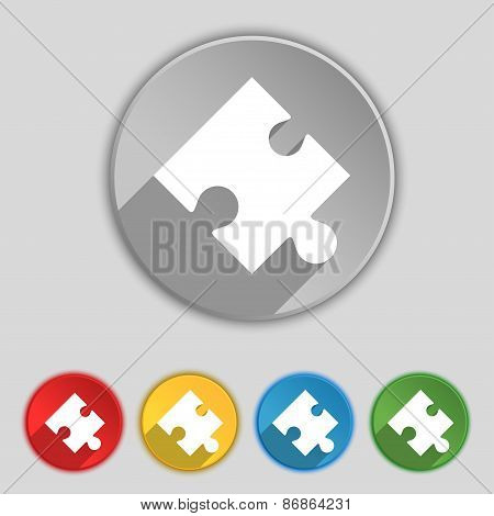 Puzzle Piece Icon Sign. Symbol On Five Flat Buttons. Vector