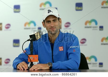KEY BISCAYNE, FL-MAR 27: Novak Djokovic of Serbia speaks to the media during day five of the Miami Open at Crandon Park Tennis Center on March 27, 2015 in Key Biscayne, Florida.
