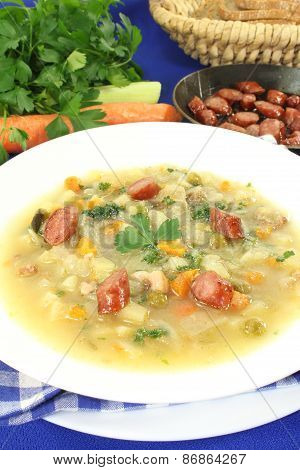 Hearty Cabbage Soup With Mettwurst Sausage