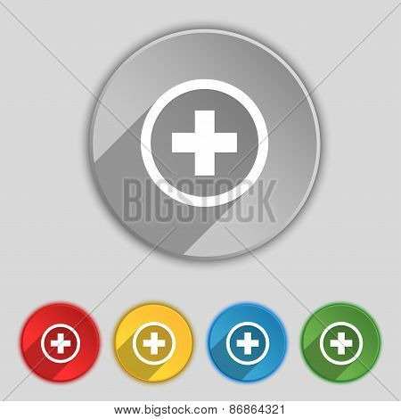 Plus, Positive, Zoom Icon Sign. Symbol On Five Flat Buttons. Vector