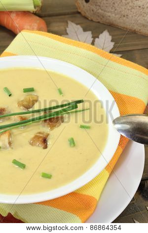 Homemade Chestnut Soup With Chives