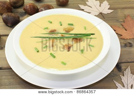 Delicious Homemade Chestnut Soup With Chives