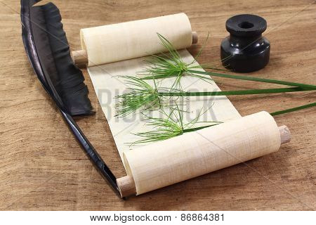 Papyrus Scroll With Plant