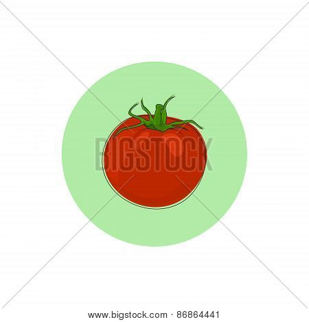 Icon red tomato, vector illustration