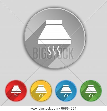 Kitchen Hood Icon Sign. Symbol On Five Flat Buttons. Vector