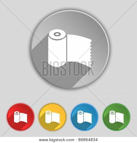 Toilet Paper, Wc Roll Icon Sign. Symbol On Five Flat Buttons. Vector