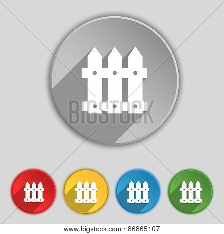 Fence Icon Sign. Symbol On Five Flat Buttons. Vector