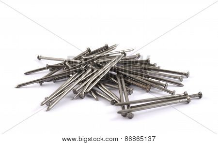 Pile of metal nails isolated