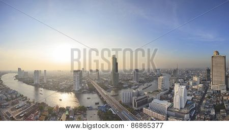 Panorama View Beautiful Curve Of Chao Phraya River And High Building Sky Scrapper In Heart Of Bangko