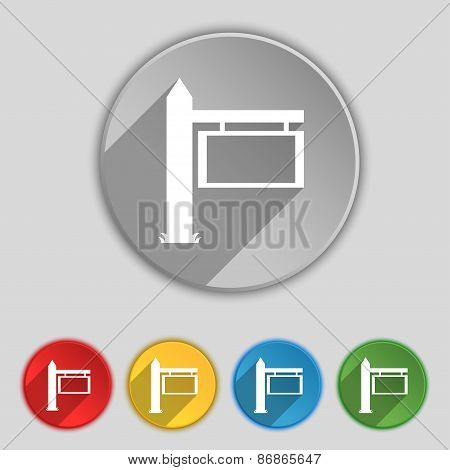 Information Road Sign Icon Sign. Symbol On Five Flat Buttons. Vector