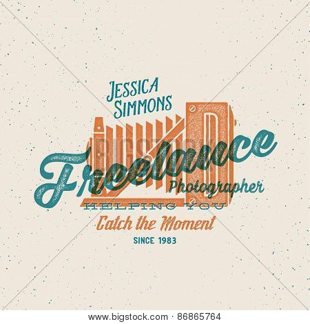 Freelance Photographer Retro Print Like Vector Label or Logo Template